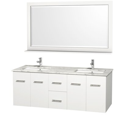 Centra 60 Double White Bathroom Vanity Set with Mirror Top Finish: White Carrera Marble