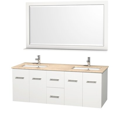 Centra 60 Double White Bathroom Vanity Set with Mirror Top Finish: Ivory Marble