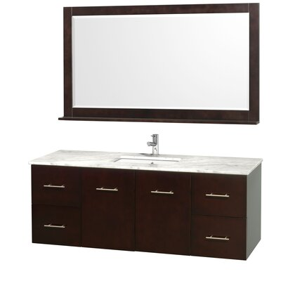 Centra 60 Single Espresso Bathroom Vanity Set with Mirror Top Finish: White Carrera Marble