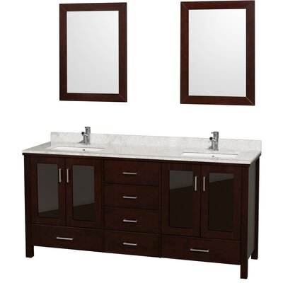 Lucy 72 Double Bathroom Vanity Set with Mirror Top Finish: White Carrera Marble