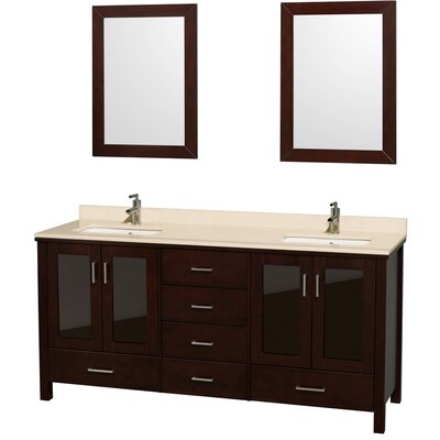 Lucy 72 Double Bathroom Vanity Set with Mirror Top Finish: Ivory Marble