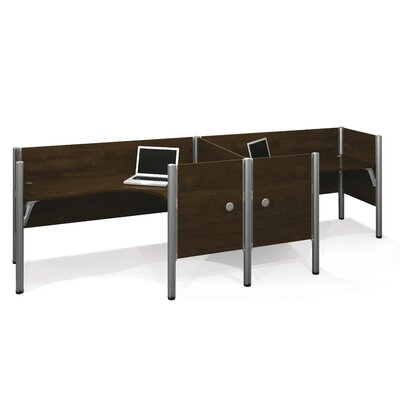 Pro-Biz Double Side-by-Side L-Desk Workstation With 7 Melamine Privacy Panels Finish: Dark Chocolate