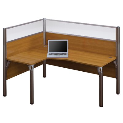 Pro-Biz Single Left L-Desk Workstation With 2 Melamine Privacy Panels and 2 Acrylic Glass Privacy Panels Finish: Cappuccino Cherry