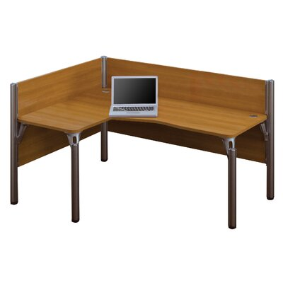 Pro-Biz Single Left L-Desk Workstation With 2 Melamine Privacy Panels Finish: Cappuccino Cherry