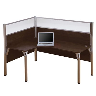 Pro-Biz Single Left L-Desk Workstation With 2 Melamine Privacy Panels and 2 Acrylic Glass Privacy Panels Finish: Dark Chocolate