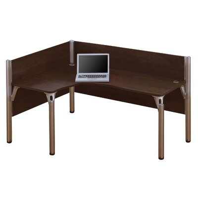 Pro-Biz Single Left L-Desk Workstation With 2 Melamine Privacy Panels Finish: Dark Chocolate