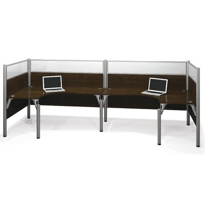 Pro-Biz Double Back-to-Back U-Desk Workstation Finish: Dark Chocolate Product Picture 6583