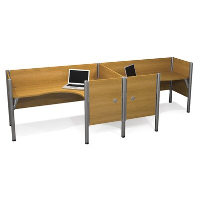 Pro-Biz Double Side-by-Side L-Desk Workstation With 7 Melamine Privacy Panels Finish: Cappuccino Cherry