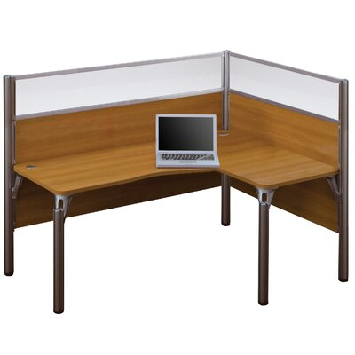 Pro-Biz Single Right L-Desk Workstation With 2 Melamine Privacy Panels and 2 Acrylic Glass Privacy Panels Finish: Cappuccino Cherry