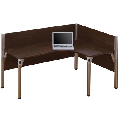 Pro-Biz Single Right L-Desk Workstation With 2 Melamine Privacy Panels Finish: Dark Chocolate