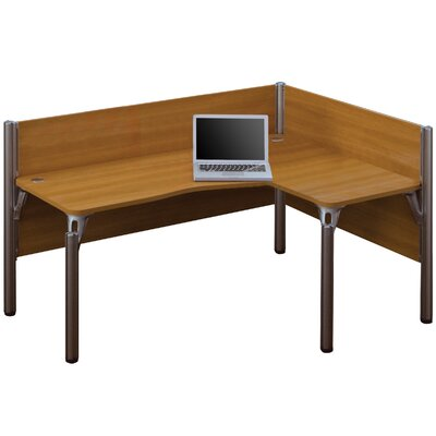 Pro-Biz Single Right L-Desk Workstation With 2 Melamine Privacy Panels Finish: Cappuccino Cherry
