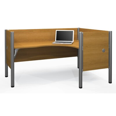 Pro-Biz Single Right L-Desk Workstation With 4 Melamine Privacy Panels Finish: Cappuccino Cherry