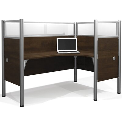 Pro-Biz Single Right L-Desk Workstation With 4 Melamine Privacy Panels & 4 Acrylic Glass Privacy Panels Finish: Dark Chocolate