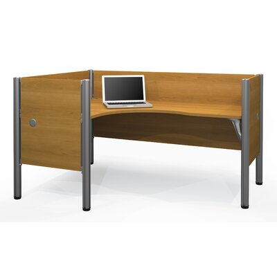 Pro-Biz Single Left L-Desk Workstation With 4 Melamine Privacy Panels Finish: Cappuccino Cherry