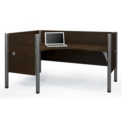 Pro-Biz Single Left L-Desk Workstation With 4 Melamine Privacy Panels Finish: Dark Chocolate