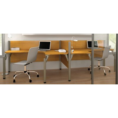 Pro-Biz Double Side-by-Side L-Desk Workstation With 2 Melamine Privacy Panels Finish: Cappuccino Cherry