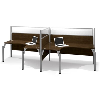Pro-Biz Double Side-by-Side L-Desk Workstation With 2 Melamine Privacy Panels Finish: Dark Chocolate