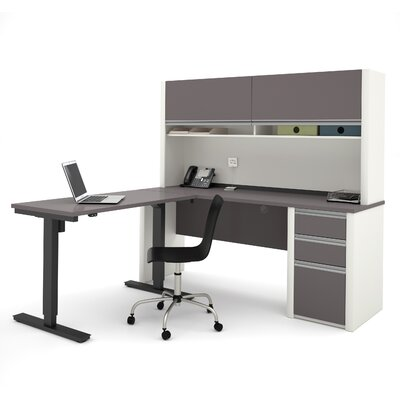 Connexion L-Shape Desk Office Suite with Hutch Finish: Slate & Sandstone Product Image 22