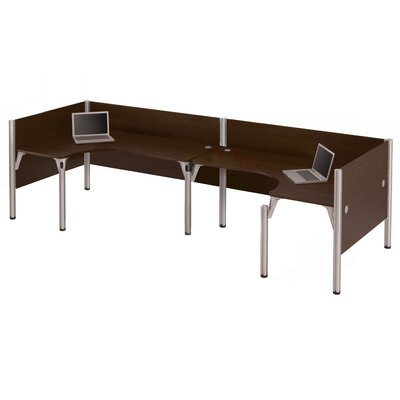 Pro-Biz Double Back-to-Back L-Desk Workstation with 3 Privacy Panels Finish: Dark Chocolate Product Picture 7333
