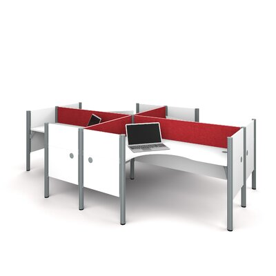 Pro-Biz Four L-Desk Workstation with 4 Privacy Panels Finish: White/Red