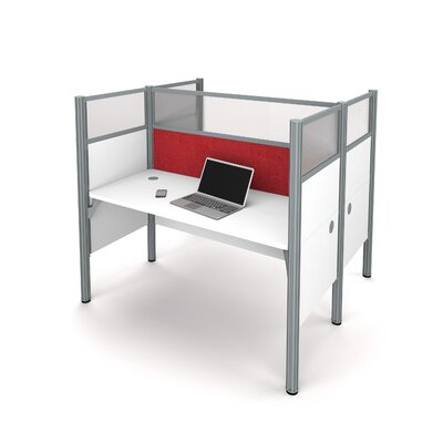Pro-Biz Double Face-to-Face Workstation with 10 Privacy Panels Finish: White/Red