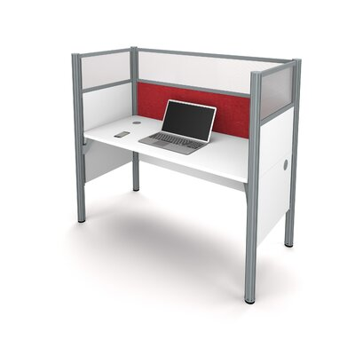 Pro-Biz Simple Workstation with 6 Privacy Panels Finish: White/Red