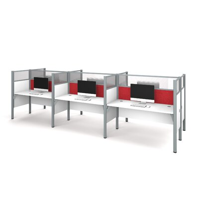Pro-Biz Six-Straight Desk Workstation with 6 Privacy Panels (Per Workstation) Finish: White/Red