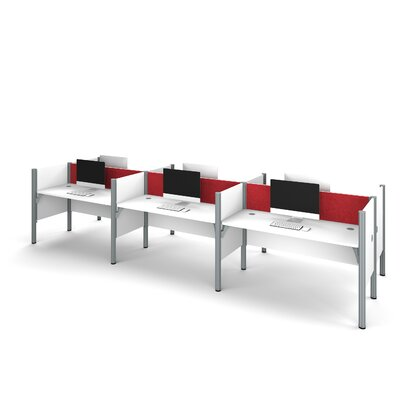 Pro-Biz Six-Straight Desk Workstation with 4 Privacy Panels Finish: White/Red