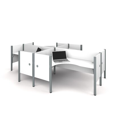 Pro-Biz Four L-Desk Workstation with 4 Privacy Panels Finish: White