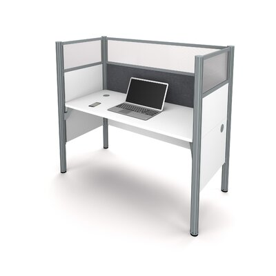 Pro-Biz Simple Workstation with 6 Privacy Panels Finish: White/Gray