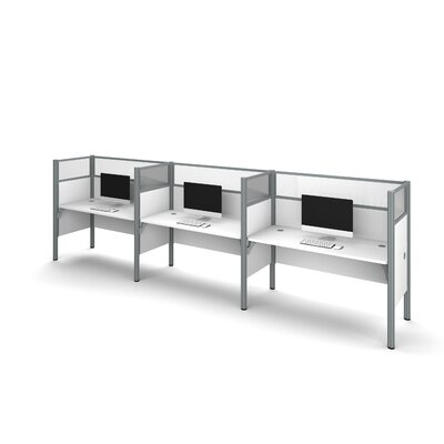 Pro-Biz Triple Side-by-Side Workstation with 6 Privacy Panels (Per Workstation) Finish: White