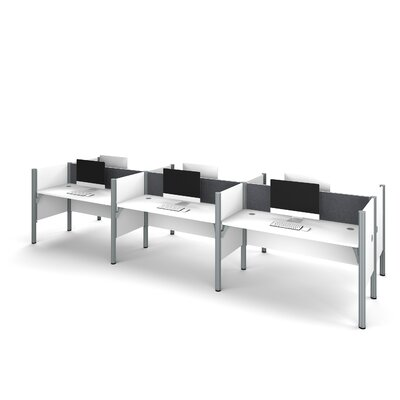 Pro-Biz Six-Straight Desk Workstation with 4 Privacy Panels Finish: White/Gray