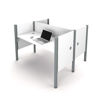 Pro-Biz Double Face-to-Face Workstation with 5 Privacy Panels Finish: White