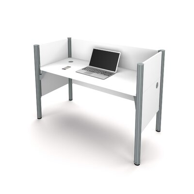 Pro-Biz Simple Workstation with 3 Privacy Panels Finish: White