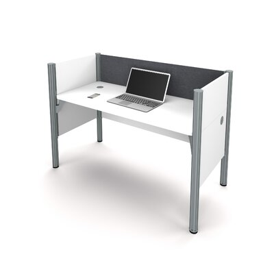 Pro-Biz Simple Workstation with 3 Privacy Panels Finish: White/Gray