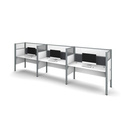 Pro-Biz Triple Side-by-Side Workstation with 6 Privacy Panels (Per Workstation) Finish: White/Gray