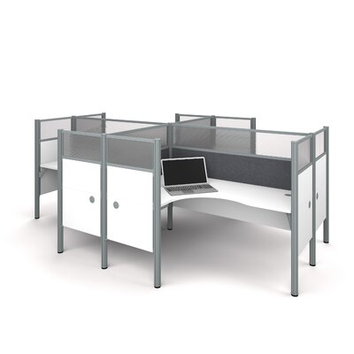Pro-Biz Four L-Desk Workstation with 8 Privacy Panels Finish: White/Gray