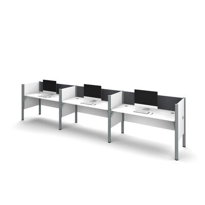 Pro-Biz Triple Side-by-Side Workstation with 3 Privacy Panels (Per Workstation) Finish: White/Gray