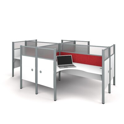Pro-Biz Four L-Desk Workstation with 8 Privacy Panels Finish: White/Red