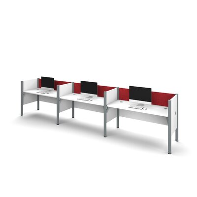 Pro-Biz Triple Side-by-Side Workstation with 3 Privacy Panels (Per Workstation) Finish: White/Red