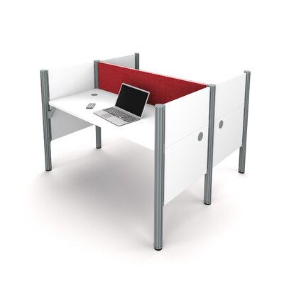 Pro-Biz Double Face-to-Face Workstation with 5 Privacy Panels Finish: White/Red