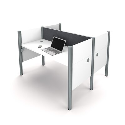 Pro-Biz Double Face-to-Face Workstation with 5 Privacy Panels Finish: White/Gray