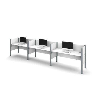 Pro-Biz Triple Side-by-Side Workstation with 3 Privacy Panels (Per Workstation) Finish: White