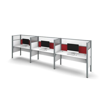 Pro-Biz Triple Side-by-Side Workstation with 6 Privacy Panels (Per Workstation) Finish: White/Red