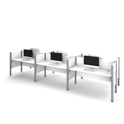 Pro-Biz Six-Straight Desk Workstation with 4 Privacy Panels Finish: White