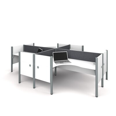 Pro-Biz Four L-Desk Workstation with 4 Privacy Panels Finish: White/Gray