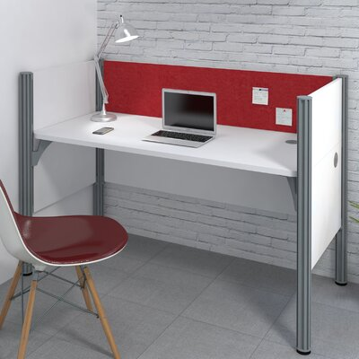 Pro-Biz Simple Workstation with 3 Privacy Panels Finish: White/Red
