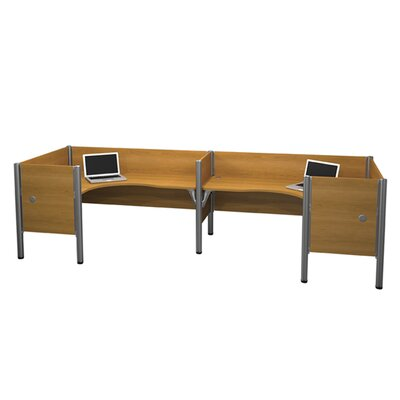 Pro-Biz Double Side-by-Side L-Desk Workstation with 4 Privacy Panels (Per Workstation) Finish: Cappuccino Cherry