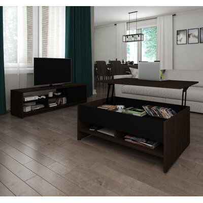 Small Space 2 Piece Lift-Top Storage Coffee Table and TV Stand Set Finish: Dark Chocolate/Black