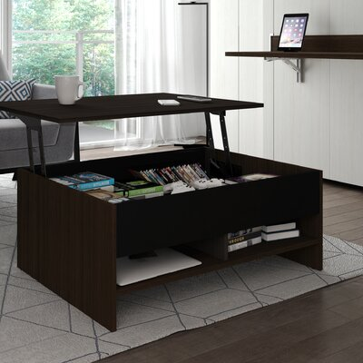 Small Space Storage Coffee Table with Lift Top Finish: Dark Chocolate/Black